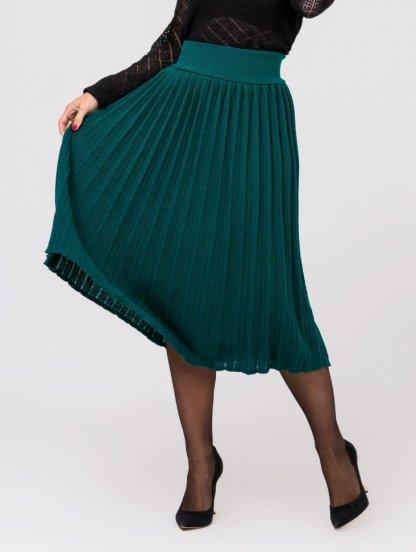 Вязанная юбка плиссе зеленого цвета, фото 1