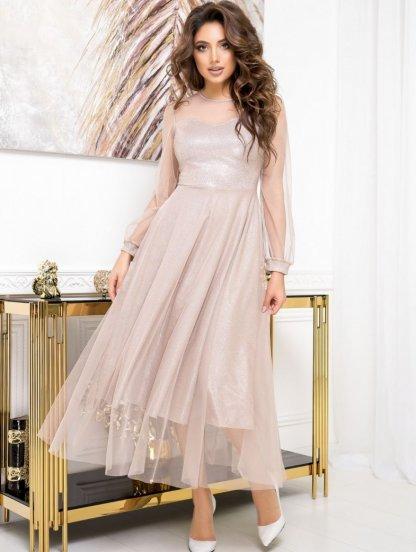 Нарядное блестящее платье с сеткой, фото 1