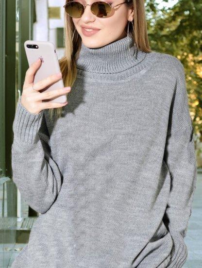 Короткое теплое серое свитер-платье на длинный рукав, фото 1