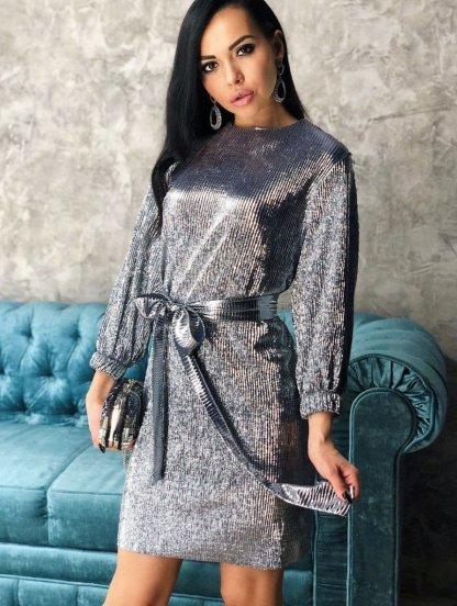 Короткое женское нарядное блестящее платье, фото 1