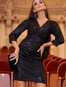 Коктейльное платье-мини черного цвета с рукавом 3\4