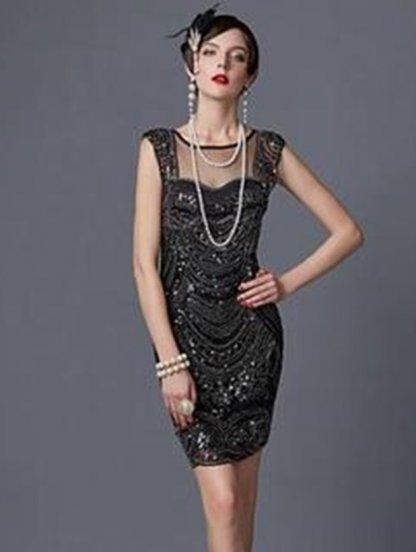 Нарядное блестящее черное платье с паетками, фото 1