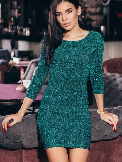 Короткое зеленое нарядное платье в пайетку с рукавом 3/4, фото 1