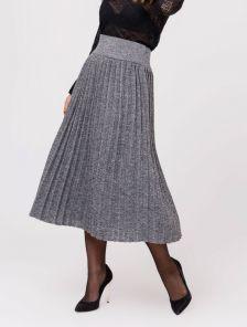 Серая вязанная юбка плиссе