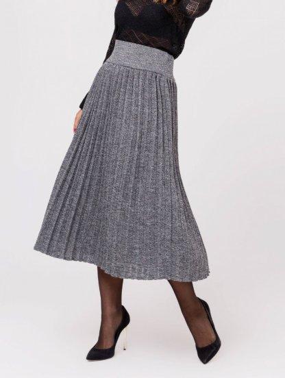 Серая вязанная юбка плиссе, фото 1
