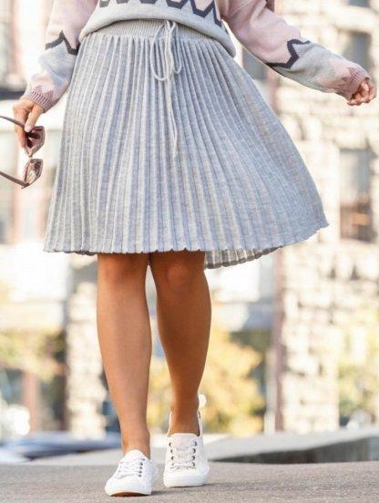 Вязанная юбка плиссе серого цвета, фото 1