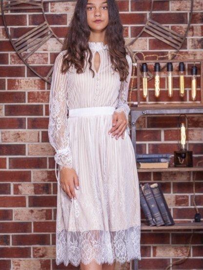 Белое кружевное платье на длинный рукав с бежевой подкладкой, фото 1
