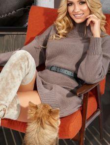 Короткое теплое свитер-платье на длинный рукав