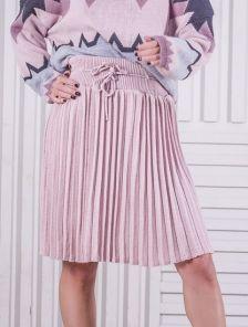 Вязанная юбка плиссе пудрового цвета