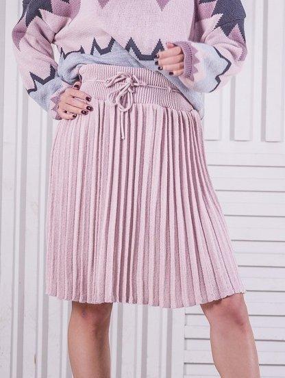 Вязанная юбка плиссе пудрового цвета, фото 1