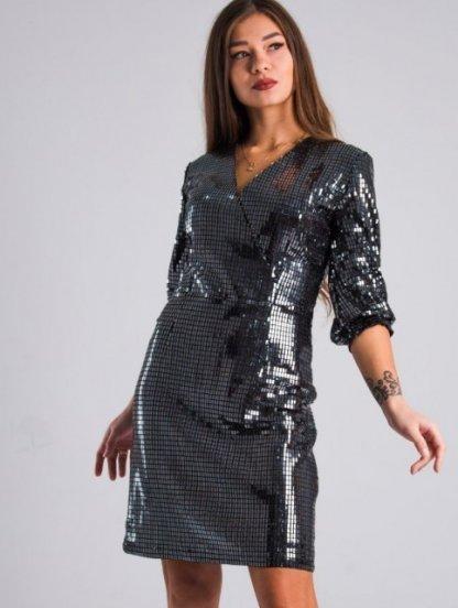 Вечернее черное блестящее платье до колен, фото 1