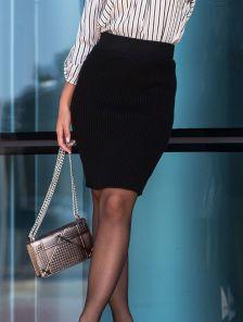 Вязанная черная юбка карандаш