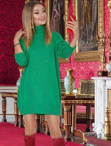 Зеленый удлиненный свитер оверсайз с широкий горловиной