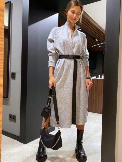 Серое теплое платье на флисе на длинный рукав с горловиной стойкой, фото 1