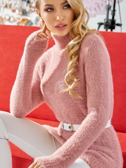 """Удлиненный пудровый свитер с горловиной из пряжи """"альпака"""", фото 1"""