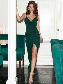 Зеленое вечернее платье в пол на тонких бретелях с вырезом на ноге