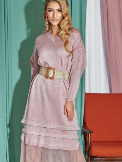 Розовое вязаное платье ниже колен и длинным рукавом, фото 1