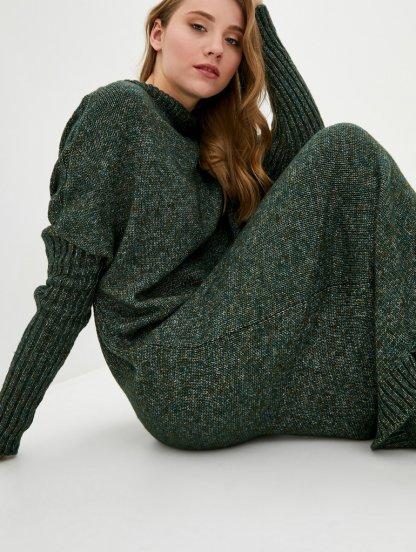 Вязаное зеленое длинное платье свободного кроя, фото 1