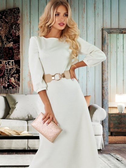 Трикотажное платье ванильного цвета, фото 1