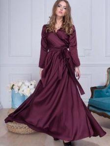 Вечернее шелковое длинное платье винного оттенка