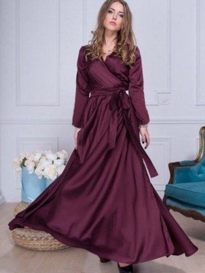 Вечернее шелковое платье винного оттенка, фото 1