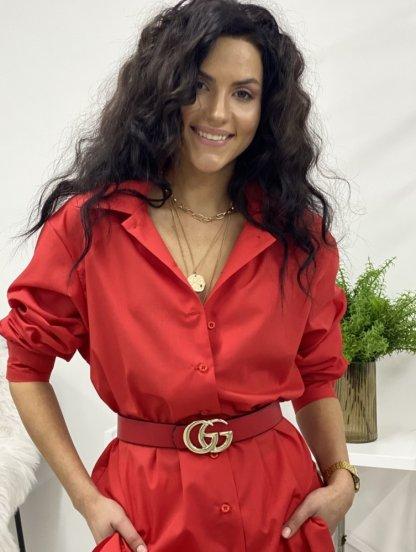 Удлиненная красная рубашка свободного кроя, фото 1
