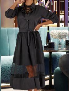 Приталенное черное платье с длинным рукавом