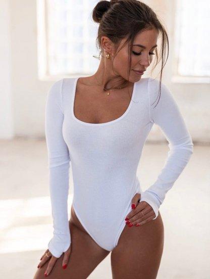 Белый трикотажный боди под одежду, фото 1