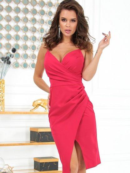 Облегающее короткое красное платье на бретелях, фото 1