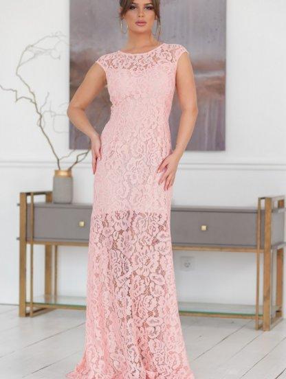 Нежно-розовое нарядное кружевное платье в пол, фото 1