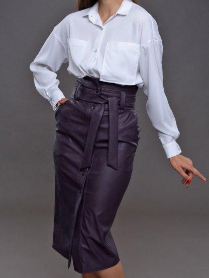 Женская кожаная юбка длины миди с карманами и поясом, фото 1
