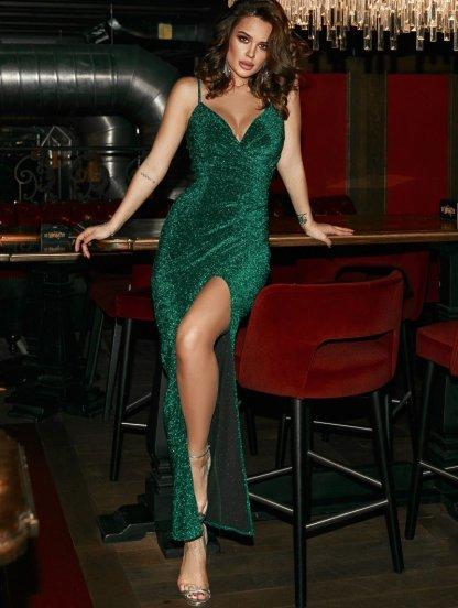 Платье зеленого цвета в пол на бретельках, фото 1