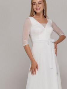 Белое длинное платье на рукав 3/4 с сеткой на роспись и свадьбу