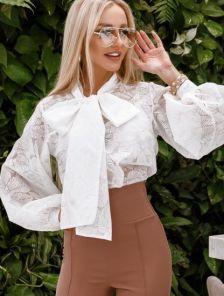 Белая женская нарядная блуза с рукавами-буфами