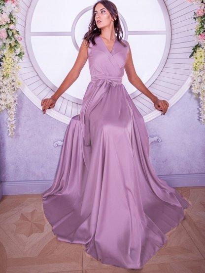 Вечернее лиловое шелковое платье в пол с разрезом, фото 1
