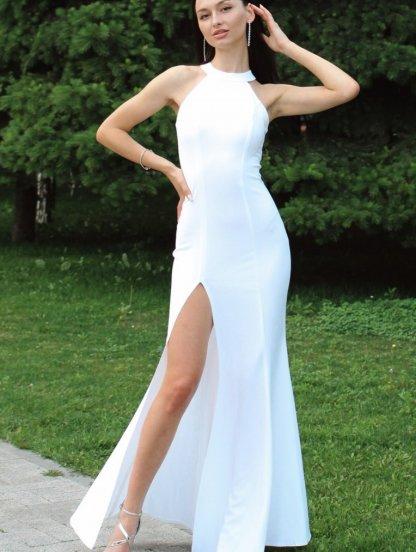 Длинное летнее белое вечернее платье с открытыми плечами и разрезом, фото 1