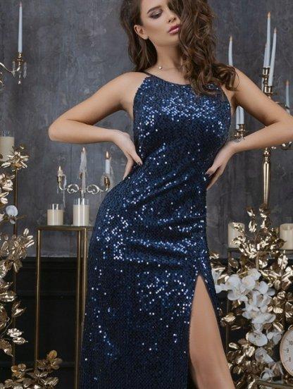 Длинное вечернее синее платье без рукавов, фото 1