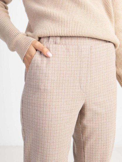 Светлые облегающие женские трикотажные брюки, фото 1