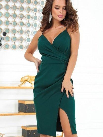 Облегающее зеленое платье на бретелях, фото 1