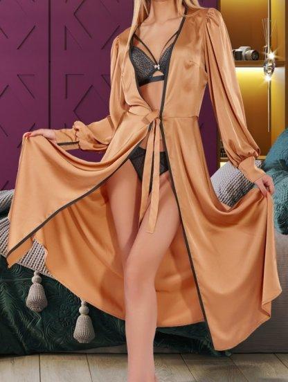 Приталенный халат золотого цвета без запаха, фото 1
