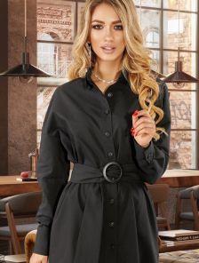 Черное приталенное платье-рубашка на пуговках