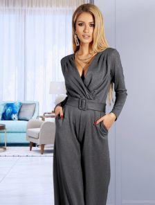 Серый нарядный женский комбинезон с длинными рукавами