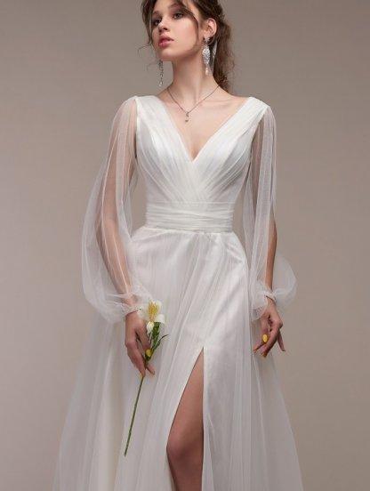 Длинное вечернее платье цвета айвори с разрезами на рукавах, фото 1