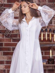 Белое нарядное платье в пол с длинными кружевными рукавами