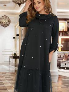Стильное платье ниже колен с жемчугом