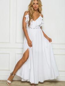 Длинное белое платье в пол на лето