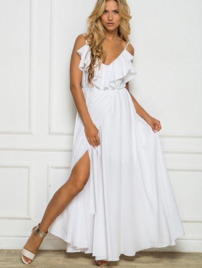 Длинное белое летнее платье в пол с воланами и разрезом, фото 1