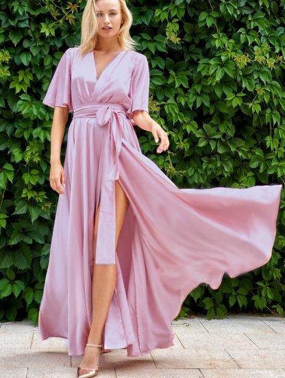 Светлое длинное шелковое вечернее платье с рукавом 3/4, фото 1