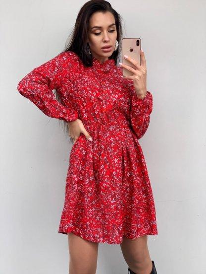 Короткое красное платье в цветочек на длинный рукав, фото 1