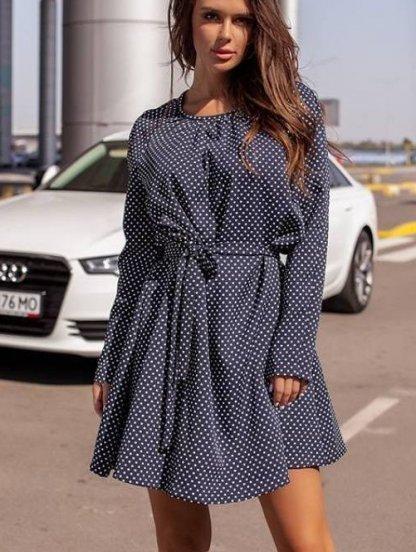 Синие платье в горошек, фото 1